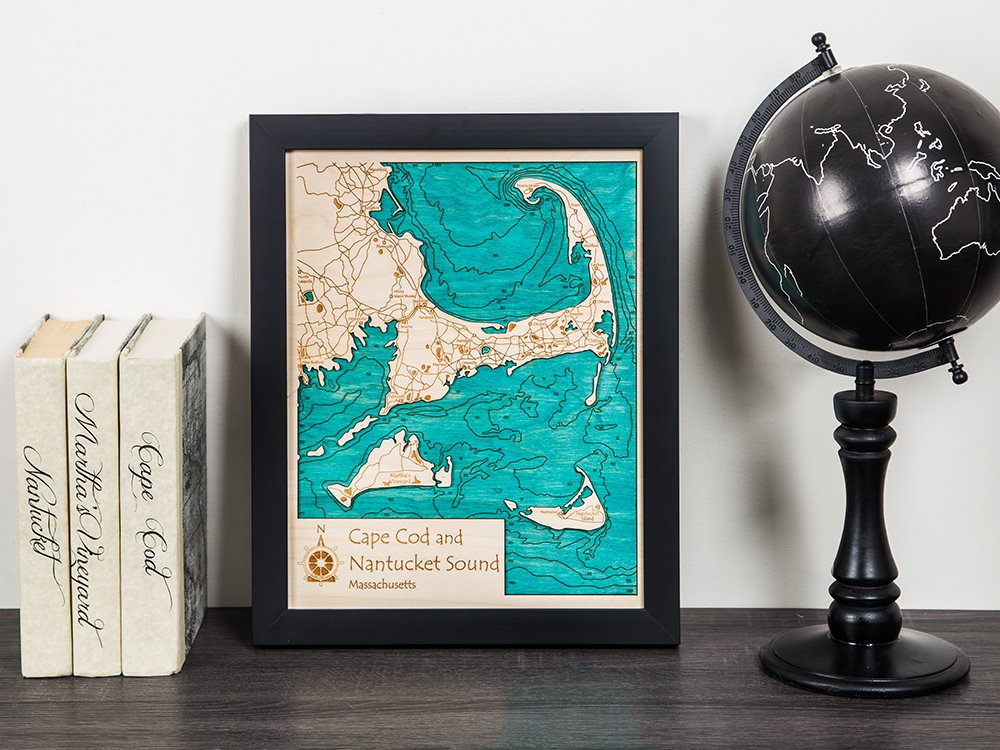 "11"" x 14"" Single-Layer Laser Cut Wood Map"