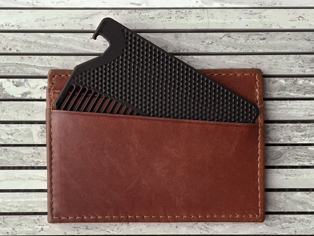 Matte Fine Tooth Wallet Comb with Bottle Opener