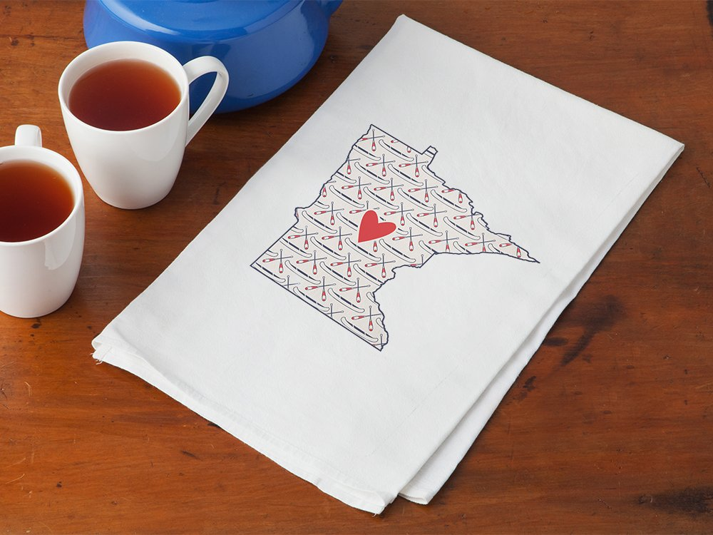 Patterned Hometown Heart Hand Towel