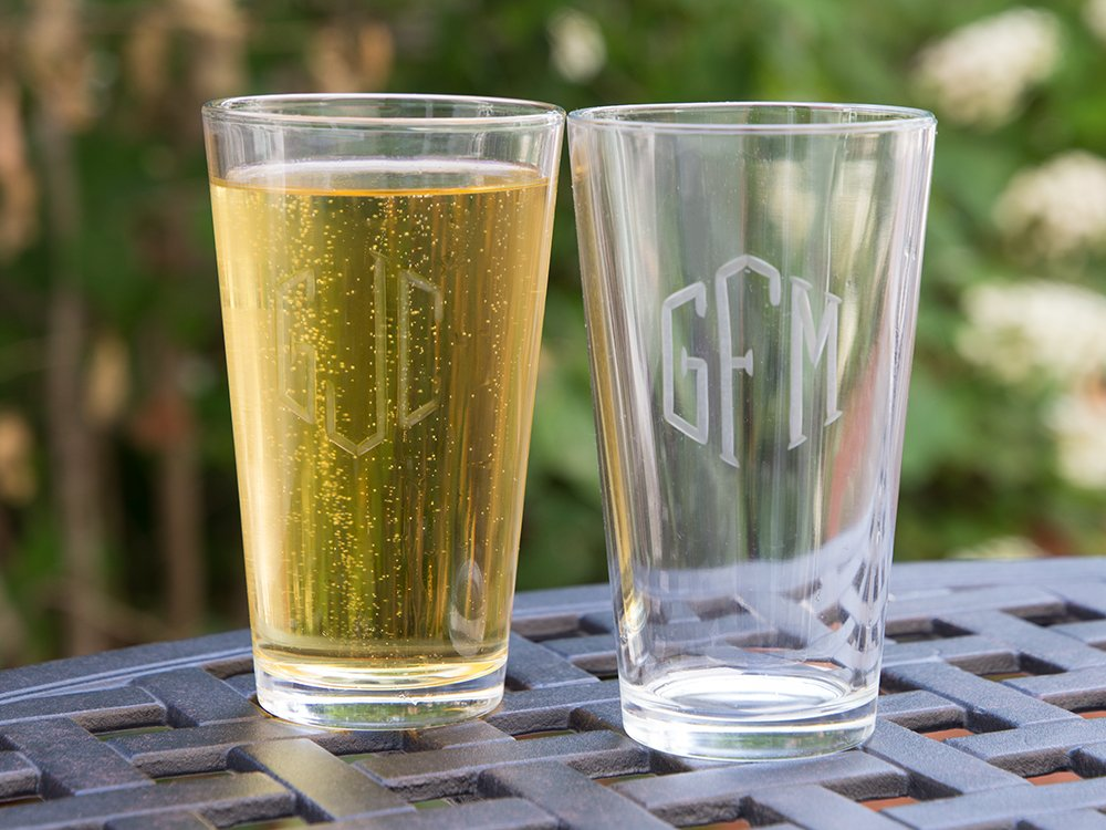 Hand Cut Monogram Pint Glass - Set of 2
