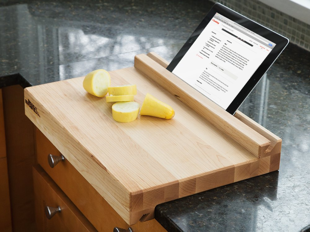 Tablet-Holding Cutting Board