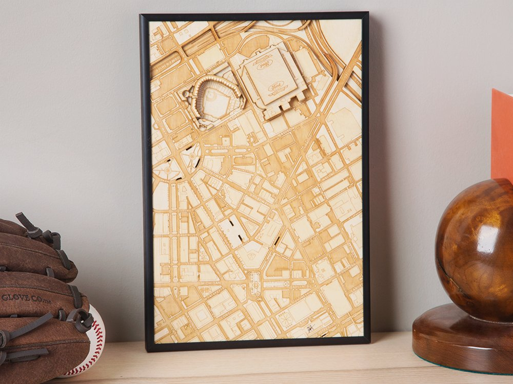 Laser Cut Stadium City Map