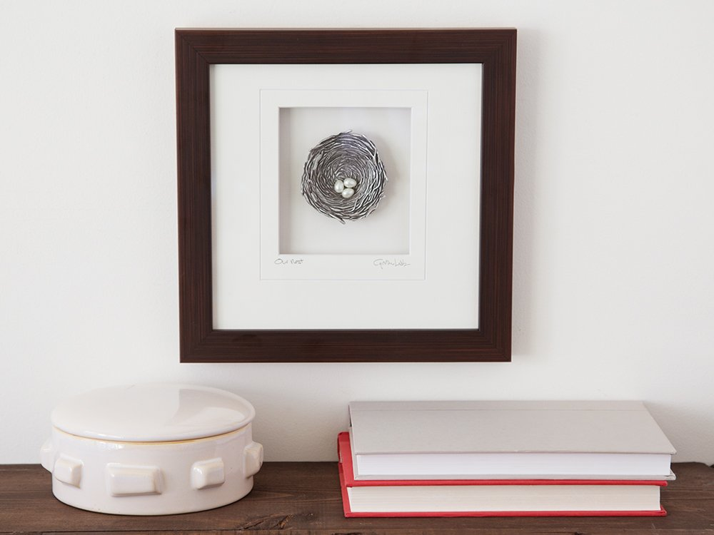 Framed Pewter Bird's Nest