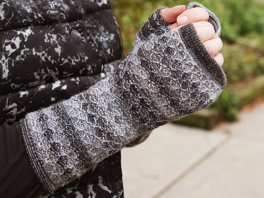 Knit Alpaca Wool Fingerless Mittens