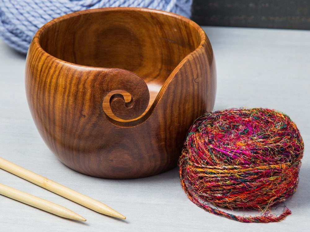 Handcrafted Jumbo Wooden Yarn Bowl