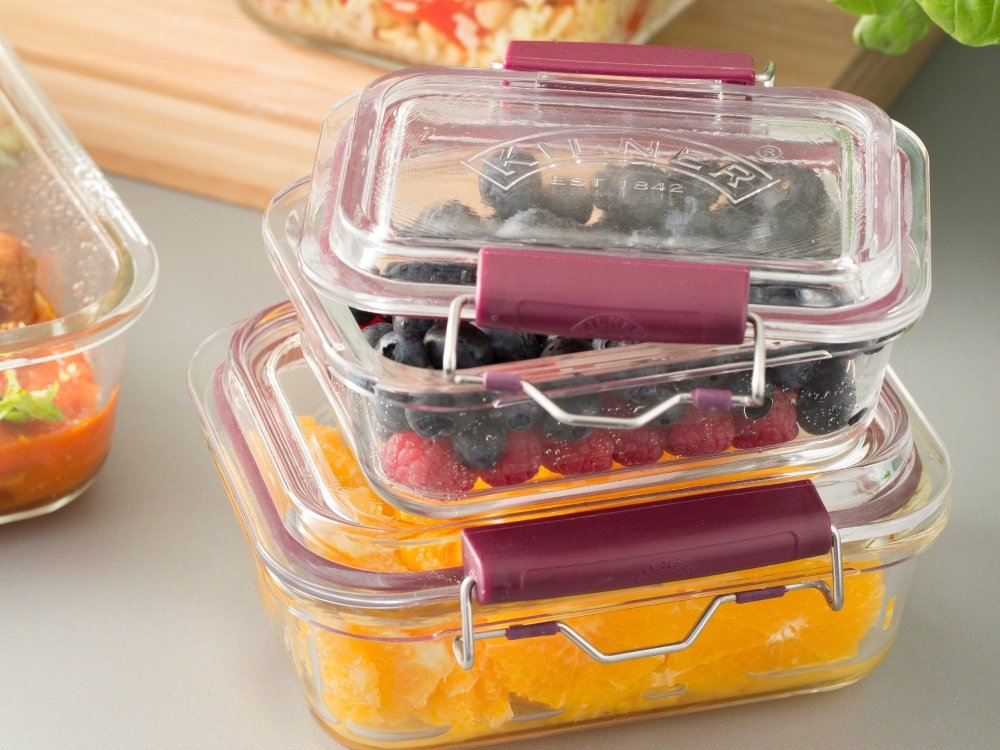 Locking Glass Food Storage Containers - Set of 3