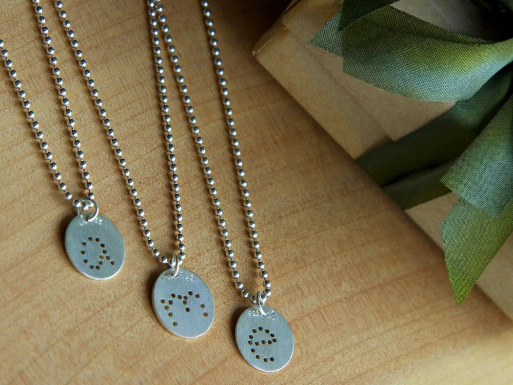 Silver Charm and Necklace Set