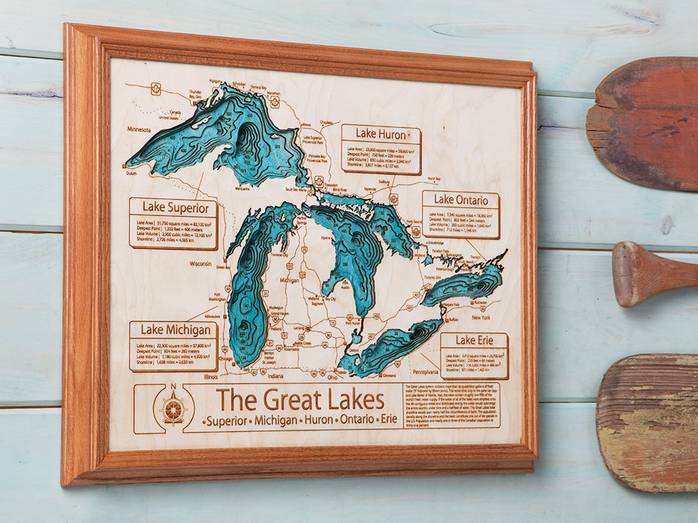 "24"" by 30"" Custom 3D Wood Map"