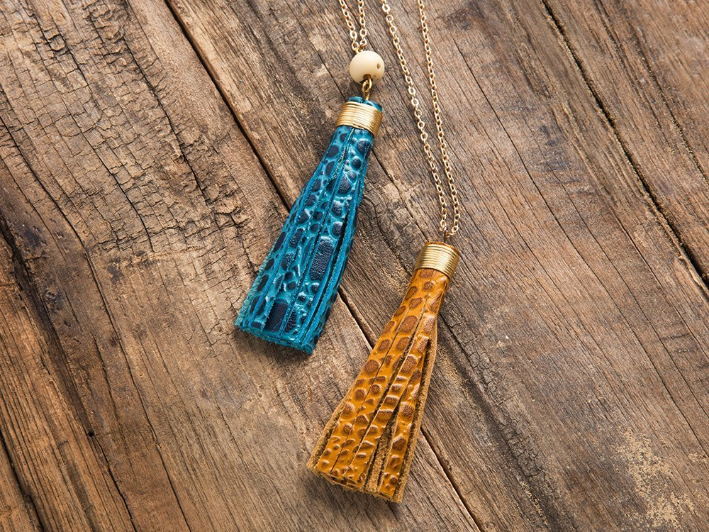 Turquoise/Incan Sun Tassel Necklace