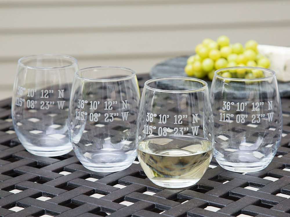 Sand Etched Latitude and Longitude Stemless Wine Glass